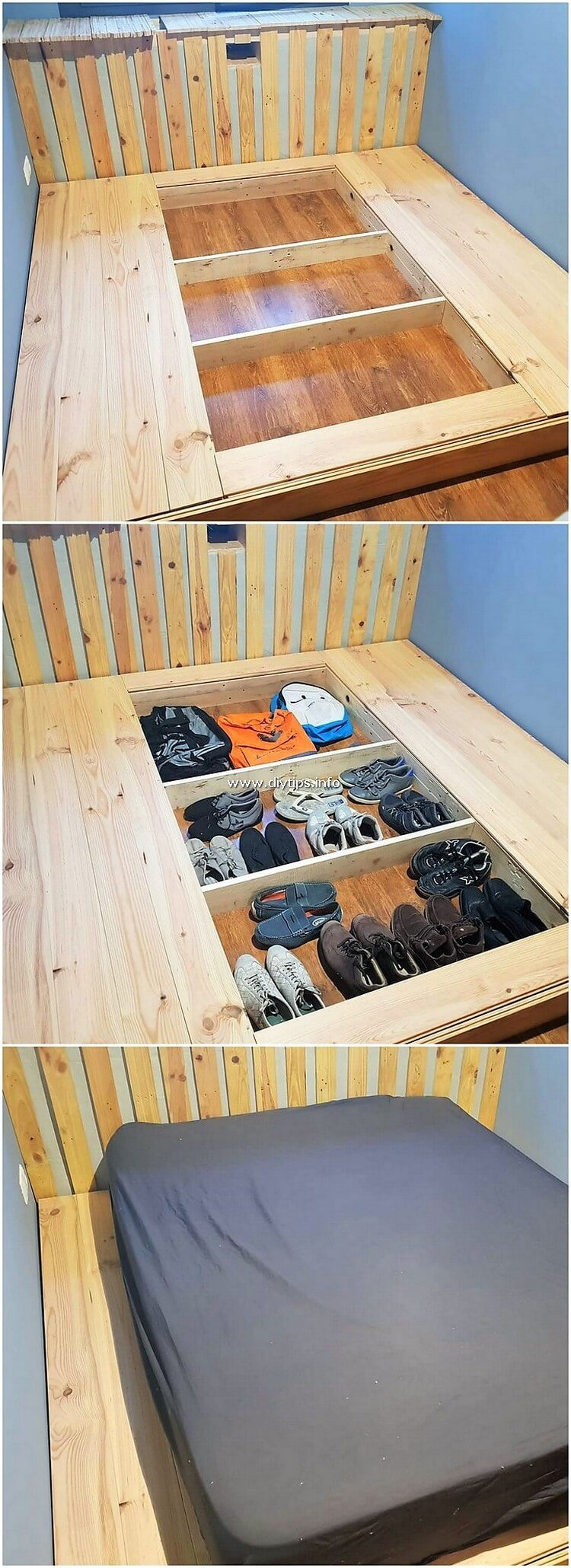Pallet Bed with Clothes and Shoe Storage