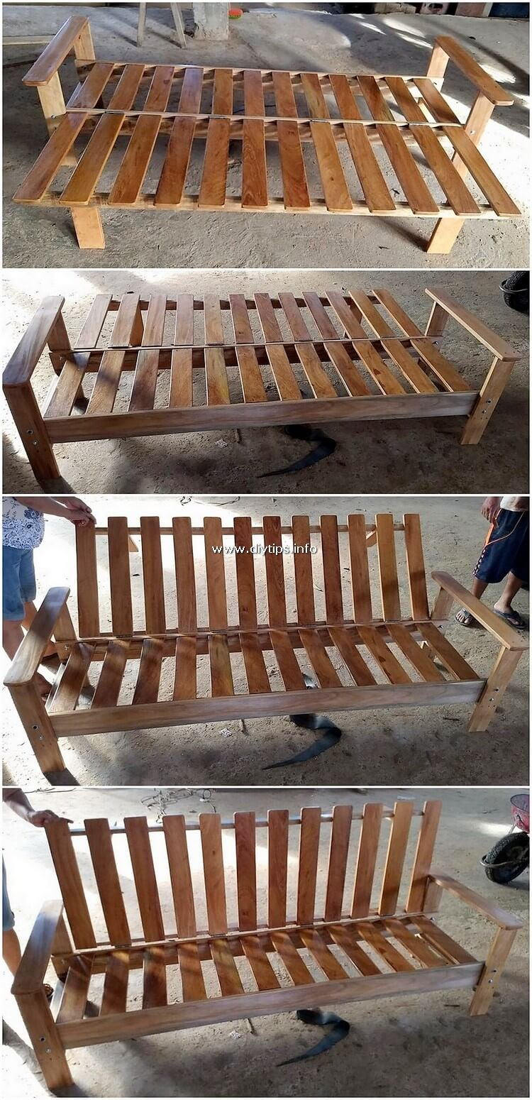 Pallet Bench with Folding Backrest