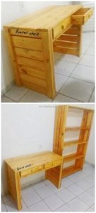 Pallet Desk with Drawers and Shelving Unit