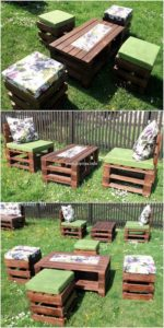 Pallet Garden Table and Stools