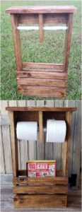 Pallet Toilet Paper Roll Holder with Shelf