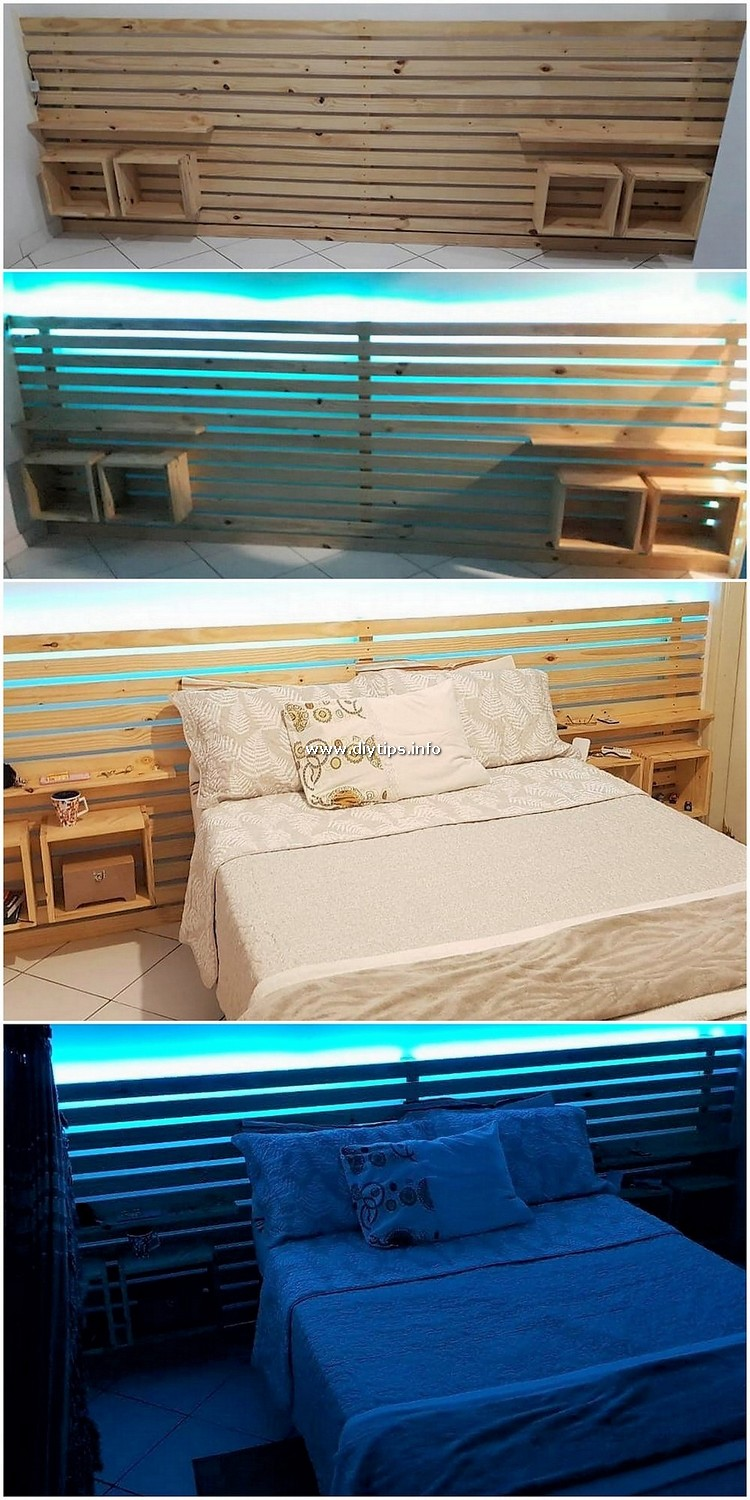 DIY Pallet Bed Headboard with Lights