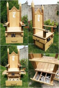 Pallet Chair with Drawers
