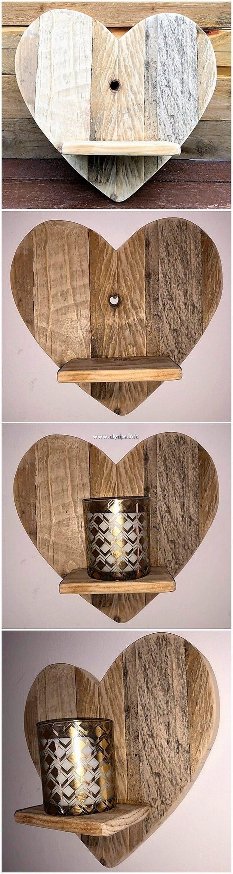 Heart Shape Pallet Wall Shelf