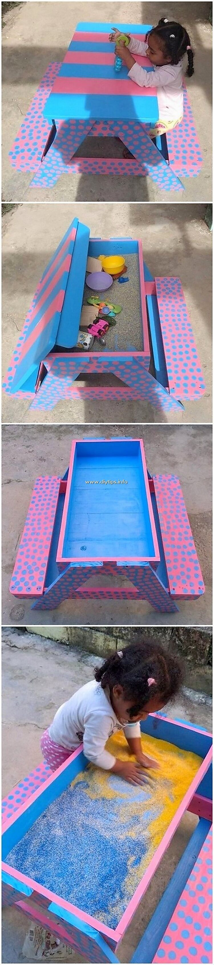 Pallet Table with Benches for Kids