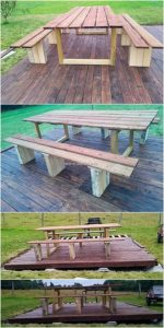 Pallet Garden Terrace with Table and Benches