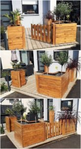 Pallet Planters with Fence