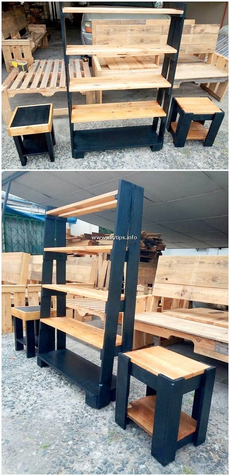 Pallet Shelving Stand and Side Tables