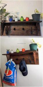 Pallet Shelf with Coat Rack
