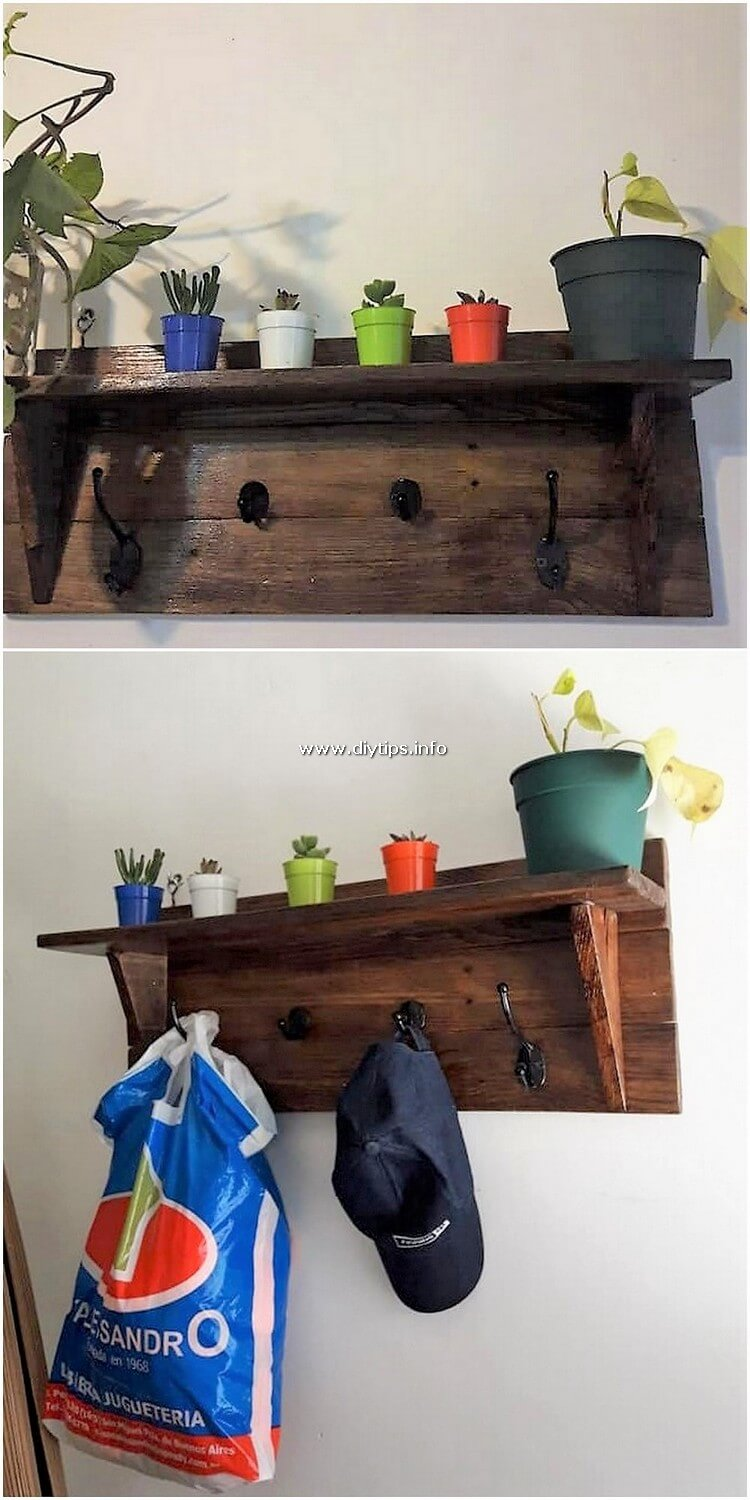 Pallet Shelf with Coat Rack