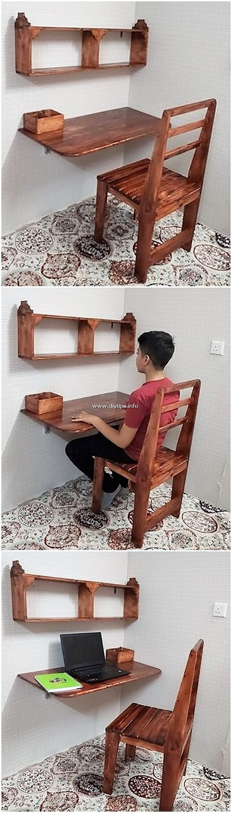 Pallet Wall Desk and Chair
